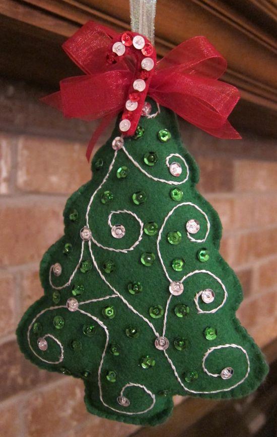 Handmade Felt  Christmas Tree Ornament by BEAUXTAILS on Etsy, $8.00