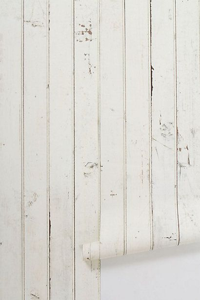 Emily-how about this for bathroom?  Scrapwood Wallpaper #anthropologie