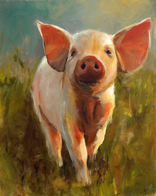Pig Painting  Morning Pig  Print of an Original door ArtPaperGarden, $15,00