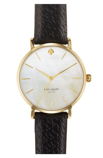 kate spade new york 'metro' round leather strap watch available at #Nordstrom