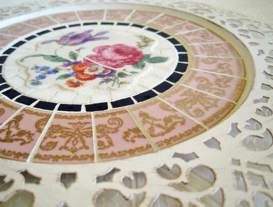 Mosaic Tray broken china floral pink filigree gold by CatnipStudio, $57.00