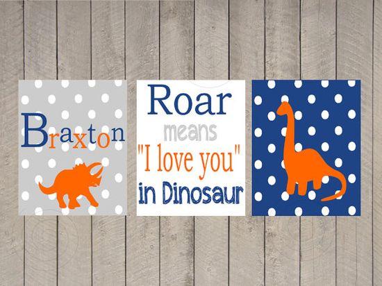 Nursery Art - Kids Wall Art - Boy - Roar means i love you - Name Print - Chevron Dinosaur - Custom Name - boy definition - Dinosaur