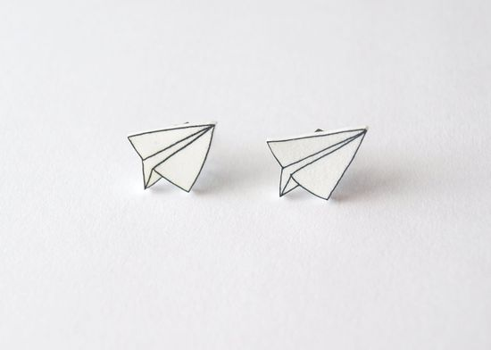 Paper Plane Stud Earrings by Rare Indeed on Etsy