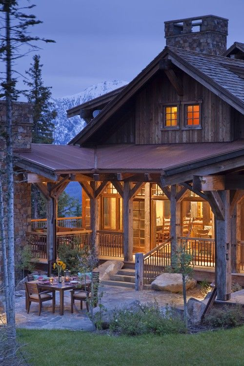 Big Sky ideal by Design Associates from Montana - Lynette Zambon and Carol Merica - fabulous porch and patio design ideas.  Love the rusted tin roof.