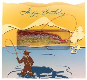 Happy Birthday / Fisherman Gift-in-greet Card Has an Authentic-handmade Fishing Lure for Instant Fishing Fun! Including Greeting Card and Envelope, Greeting Card Size: 6. 25 In. W X 5. 75 In. T by Hook, Line Greeting. $6.95. Lure secured inside blister and heat-sealed to card.. Card size: 6. 25 in. w x 5. 75 in. t. Acqueous coating on front and back of card.. Gift-in-Greet card has an authentic-handmade fishing lure for instant fishing fun! Lure secured inside blister and heat-s...