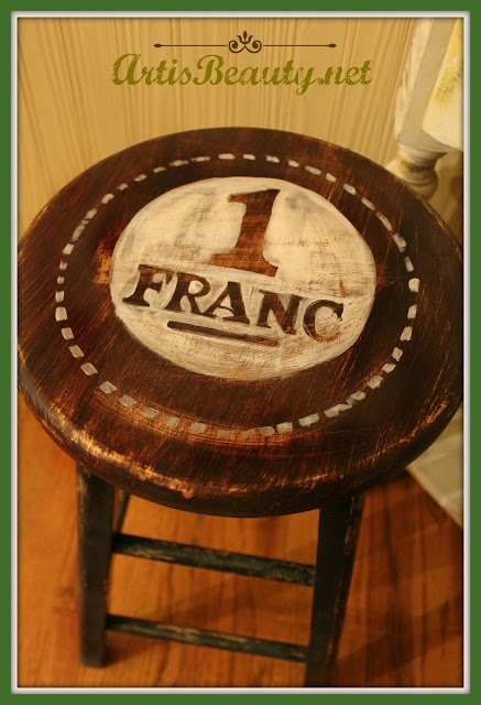 ART IS BEAUTY: Dumpster Dive Barstool turned FRENCH stand
