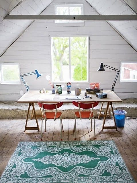 42 Inspiring Rustic Home Office Designs : 42 Awesome Rustic Home Office Designs With White Wooden Wall Window Lamp Wooden Desk Red Chair Green Carpet And Stone And Hardwood Floor