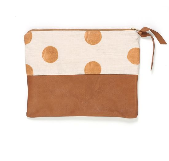 Gold Hand-Stamped Linen and Leather Clutch