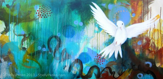 Gentle Messenger  Original Painting  Large Acrylic by Shelly Penko
