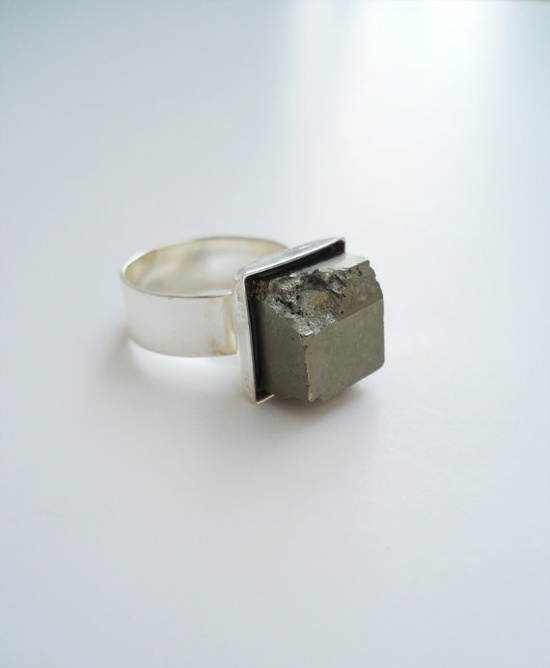 Pyrite Cube Adjustable Silver Plated Ring $28