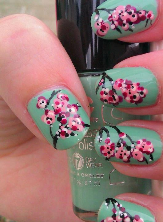 Cherry Blossoms by Katie's Creative Nails on Facebook!