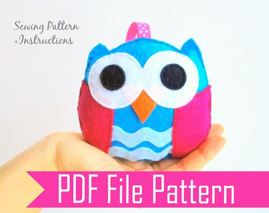 Baby Owl Plush toy Rattle baby toy  PDF Sewing by Mariapalito