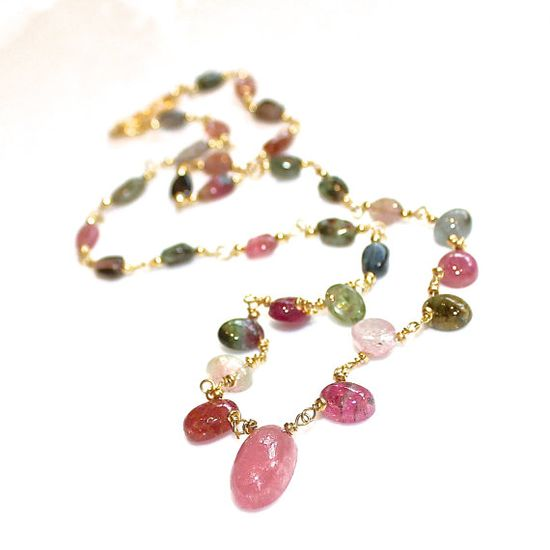 Rainbow Tourmaline Necklace Station Necklace Gemstone by FizzCandy #rainbow #tourmaline #station #necklace #jewelry #fizzcandy