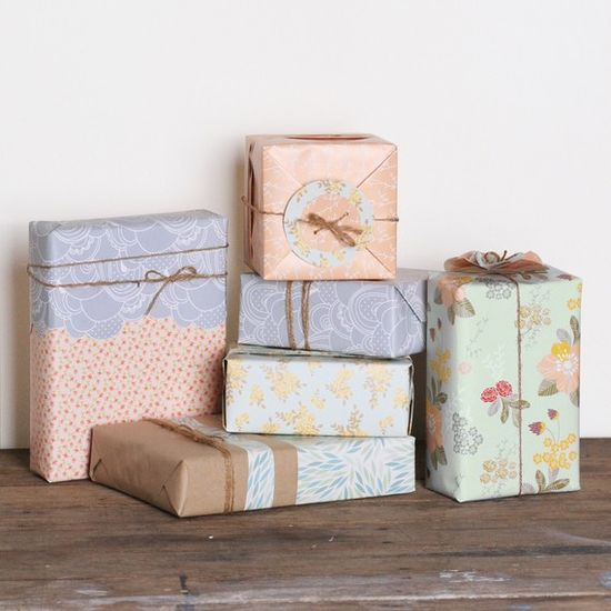Handmade gift wrap #gift #wrap #twine #flowers #paper #packaging #wrapping