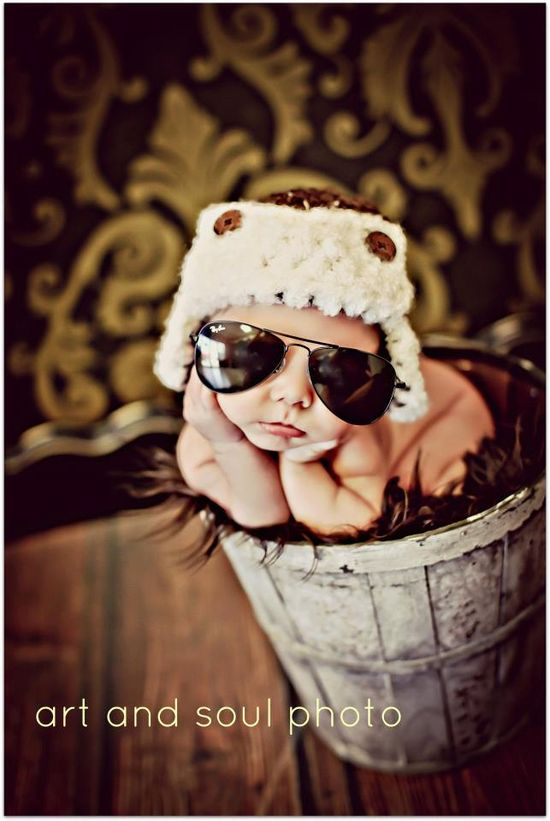 Newborn Baby Boy Photo Prop Aviator Hat. $25.00, via Etsy.