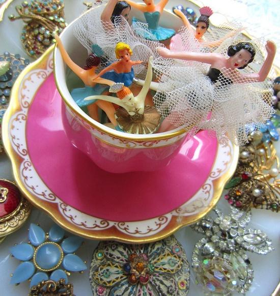 Teacup of vintage ballerinas