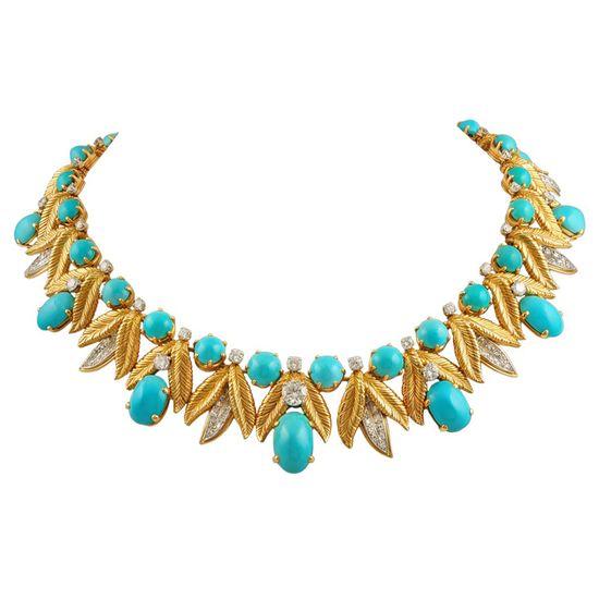 TIFFANY & Co. Diamond & Turquoise Necklace