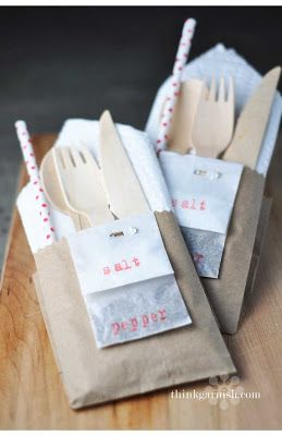 Picnic Pocket - Perfect for a big family picnic-does not link to photo, but cute idea for entertaining...small brown paper bag cut and stuffed with napkin and utensils. Love the salt and pepper stapled to bag. Could staple name tag to bag.