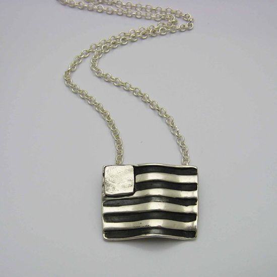 Silver Fingerprint Flag Necklace Handmade Jewelry