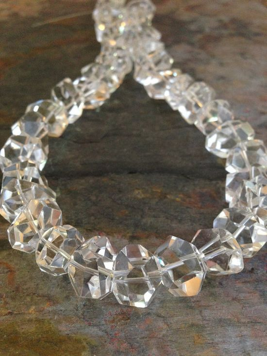 ? Rock Crystal Quartz Gemstone Nuggets, 15mm, Big Chunky Sparkle Rocks. 1/2 Strand