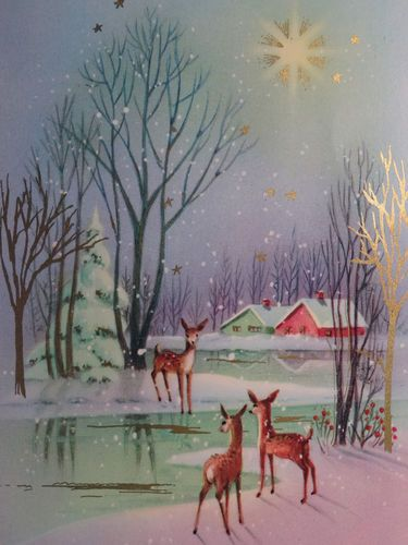 Pretty Deer at The Stream Vintage Christmas Card