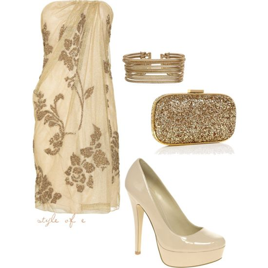 """Gold Elegance"" by styleofe on Polyvore"