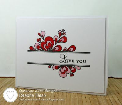 handmade Valentine card ... Dynamic Duos: Dynamic Duos #38 {Real Red and Pretty in Pink} ... clean and simple ... one layer design ... masked off center stamped with sentiment ... heart doodles colored in red and pink appear behind sentiment band ... like it! ...