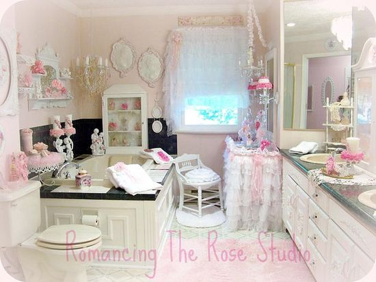 Super girly, shabby pink bathroom (from Romancing The Rose Studio)
