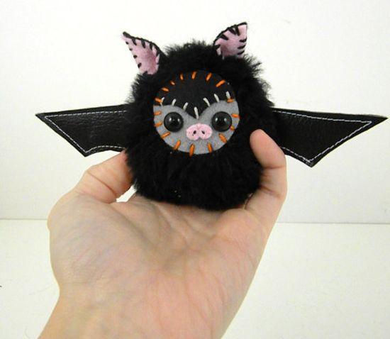 Hex the plush miniature bat stuffed animal halloween black and grey LIMITED EDITION