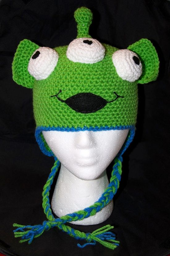 Alien Beanie with Earflaps  (We are no longer accepting Halloween orders). $23.00, via Etsy.