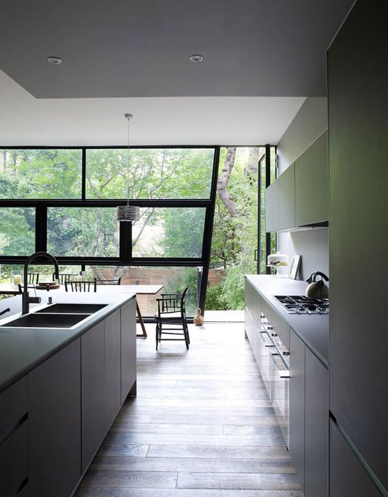 glass wall and folding doors