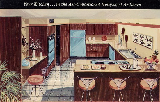 "Your Kitchen in the Air-Conditioned Hollywood Ardmore Cooperative Towers:    ""All-electric, the colorful kitchens are fully-equipped with the finest built-in GE appliances designed to save steps, save work. All-modern, yet the old-fashioned convenience of a pantry is included! Monthly payment as an owner-resident is less than the rent of a comparable apartment.    Franklin Ave. and Whitley    Robert C. Lesser, A.I.A., Architect, Model Apartment by Glabman Furniture."