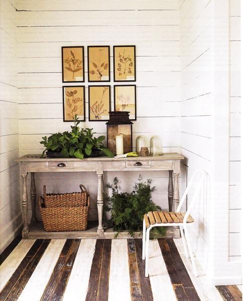 brown & white painted deck floor
