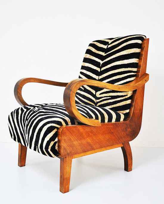 two mid-century modern reupholstered zebra print chairs - $1500