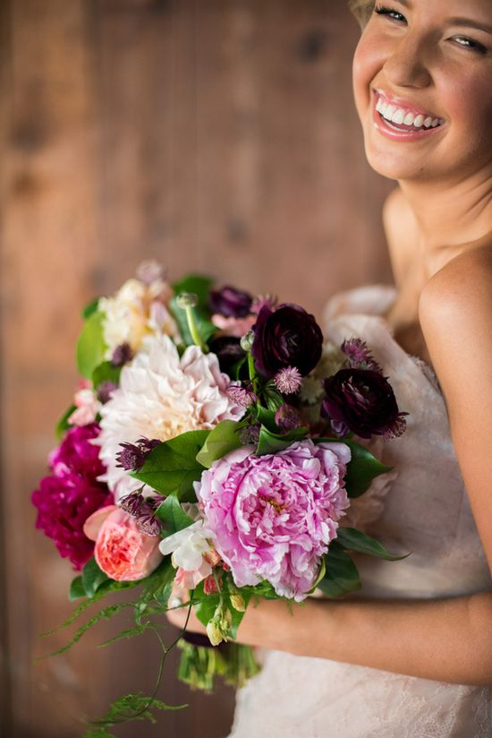 burgundy + pink wedding bouquet // photo by Michelle Boyd Photography // styling by Sweet Sunday Events // View more: ruffledblog.com/...