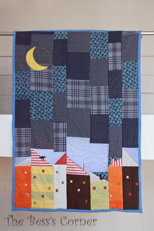 Contemporary Patchwork Quilt - Night Landscape, Appliqued Cats And Moon, Blue - OOAK, Full size 78.7'/ 200 cm x 55'/140 cm. $220.00, via Etsy.