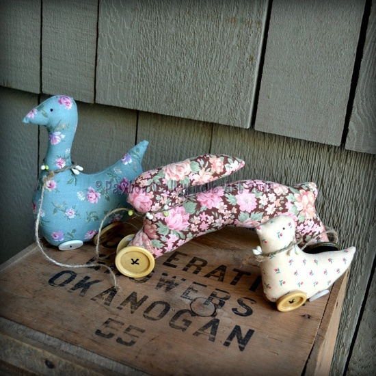 Pull Toy Parade Folk Art Soft Sculpture Animals Primitive Goose Bunny And Chick Decoration For Spring And Summer. $25.00, via Etsy. #handmade