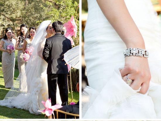 Be inspired by Alice and Jason's ornate, romantic wedding in Napa #ceremony #california #bracelet #bride #groom