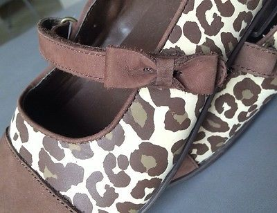 Gymboree TEACHERS PET Girls 2 Cheetah Brown Mary Jane Bow Shoes Kitty 6 7 8 10 M