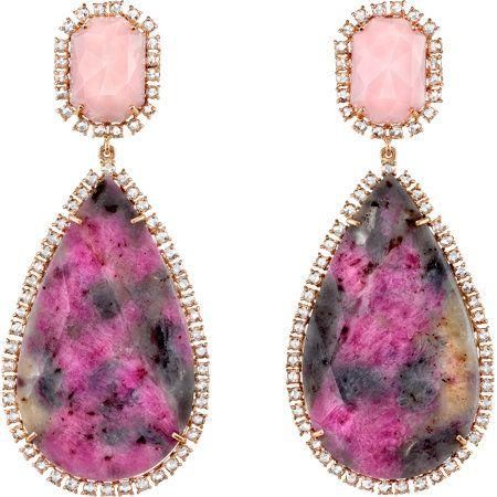 Multicolor Sapphire, Pink Opal & Diamond Drop Earrings