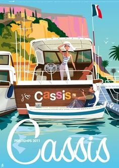 France vintage travel poster boat