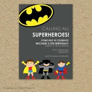 Batman super hero birthday party invitation
