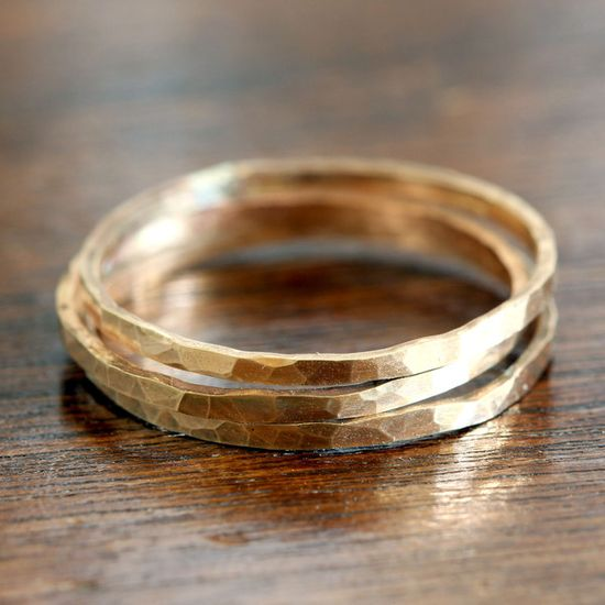 14k Gold Hammered Stacking Rings from Praxis Jewelry