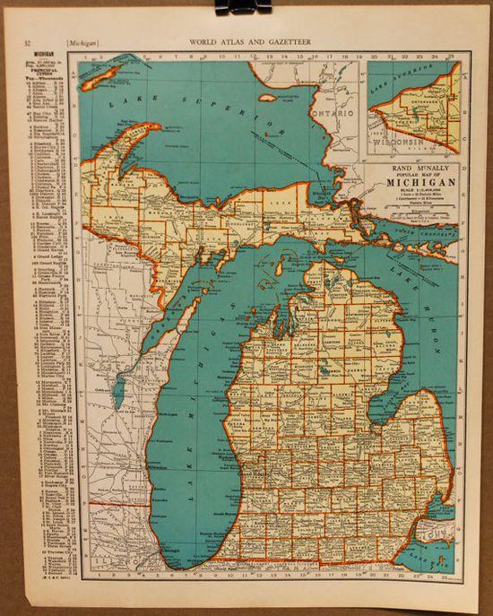 Vintage Map Michigan Detroit Original 1935 by PastOnPaper on Etsy