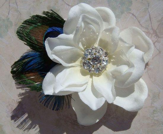 PEACOCK Wedding Flower Hair Clip with diamond by misunbridal, $36.00