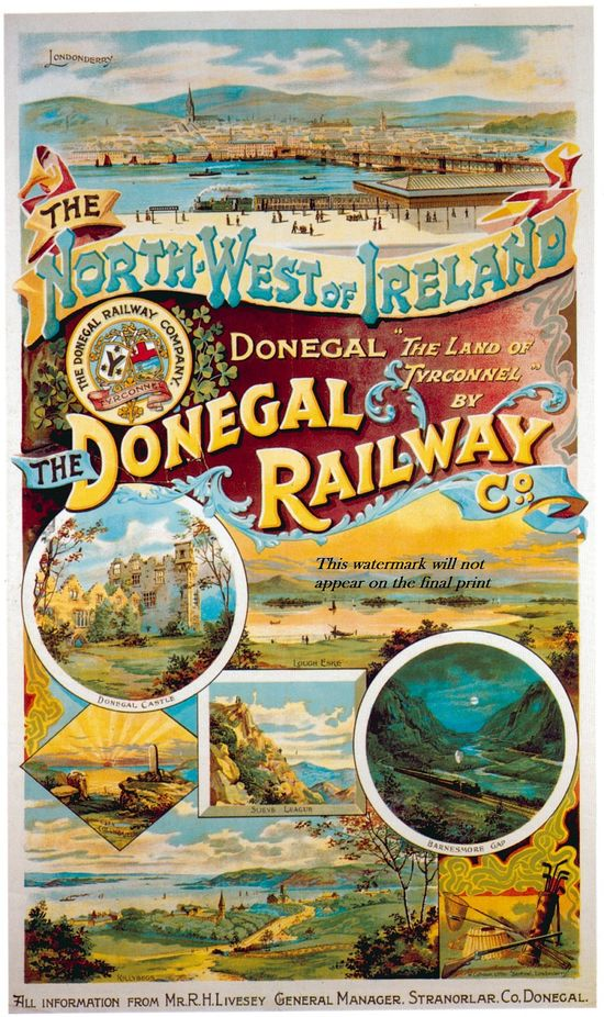 Print:  Donegal Ireland Travel Poster -  1900s