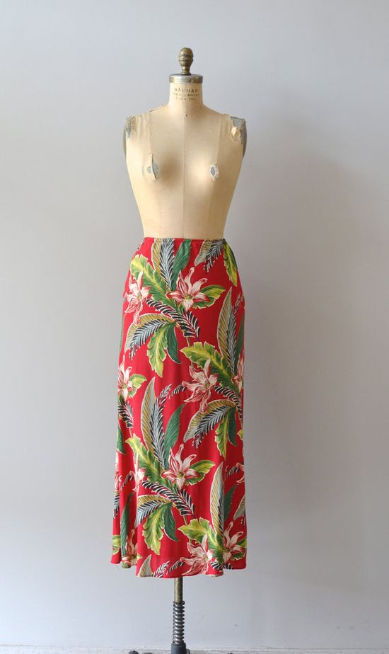 vintage midi skirt / red hawaiian floral skirt / by DearGolden, $42.00