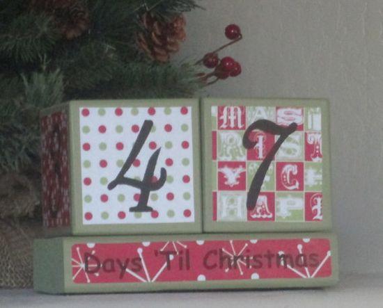 Days til Christmas Countdown Wood Blocks - Christmas Decoration on Etsy, $18.00