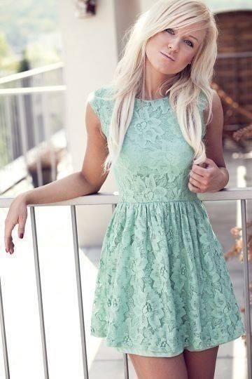 This light blue dress would be great for a summer skin tone. Summer tones have tan and sometimes light skin, ashy blond or brown hair, light eyes, and look best in pastels, mutes, pale, and light colors. This is a very light blue so it (like the blush) doesn't draw away from the tan skin and the blue contrasts nicely with the blond hair.