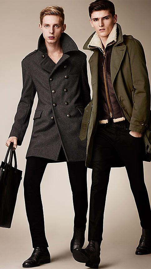 #Burberry Brit Detachable Shearling Bib Trench #Coat #mens #fashion